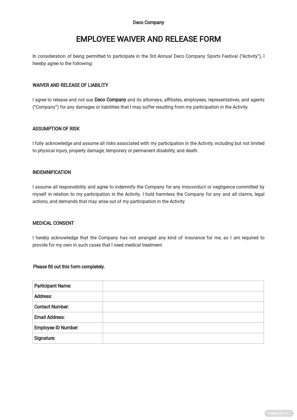 Employee Waiver and Release Form Template
