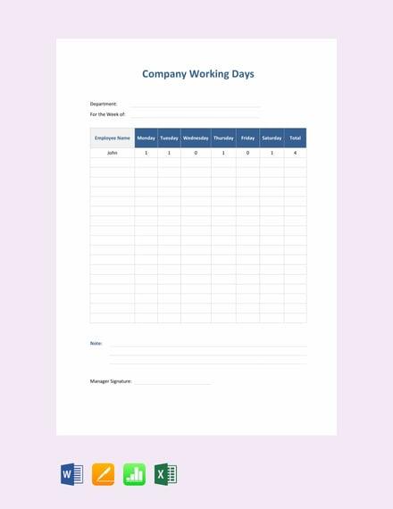 Free Company Attendance Sheet Template