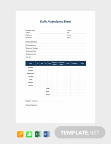 Free Daily Attendance Sheet Template