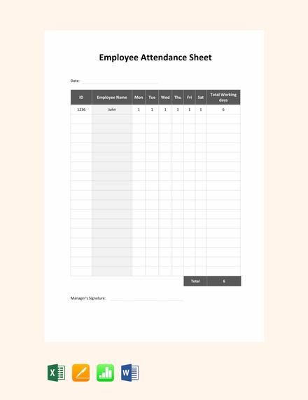 Free Employee Attendance Sheet Template