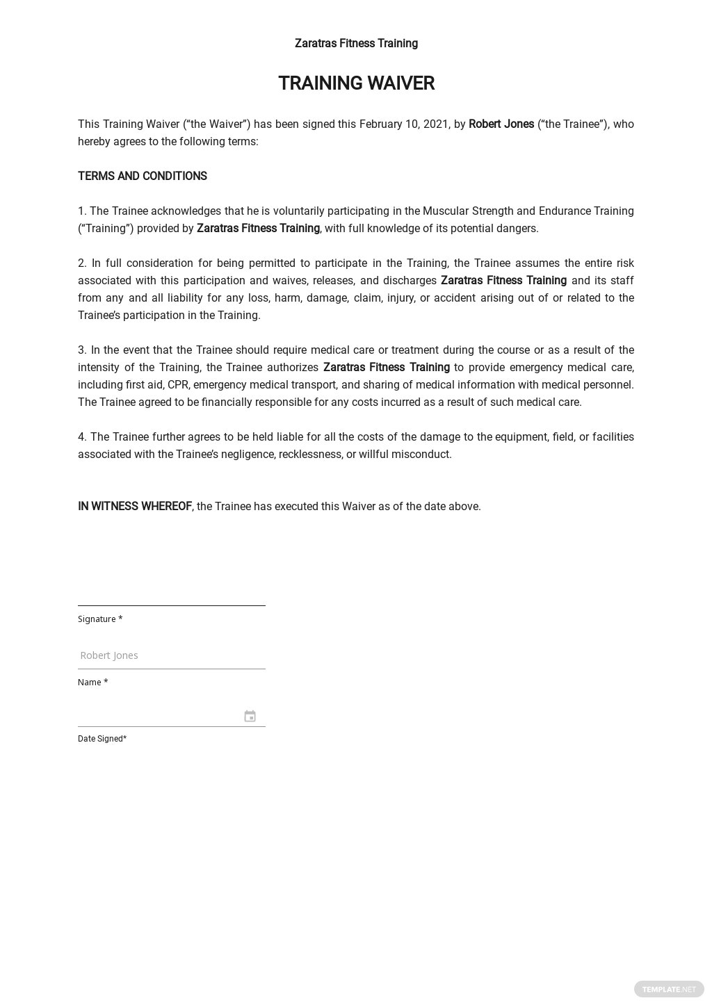 Training Waiver Sample Template