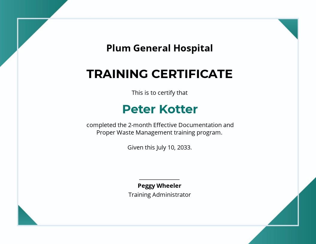 Free Hospital Training Certificate Template.jpe