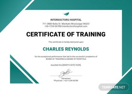 free hospital training certificate template