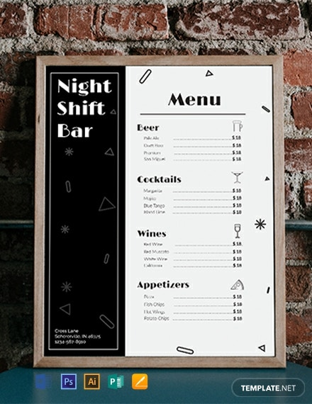 free bar menu template
