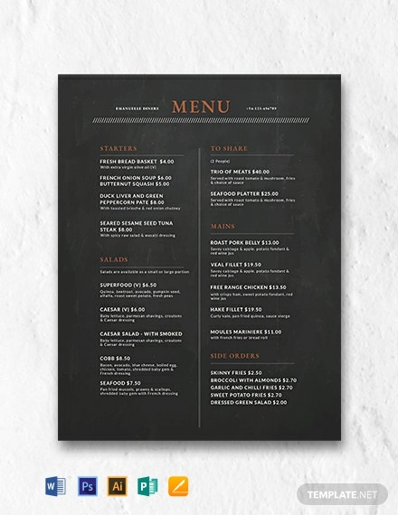 free chalkboard menu design template 440x570 1