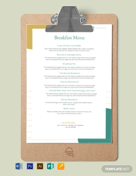 Free Sample Breakfast Menu Template