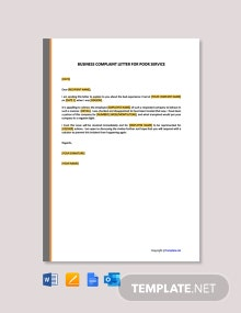 Free Business Complaint Letter for Poor Service