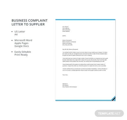 Business Complaint Letter to Supplier