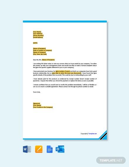 Free Business Complaint Letter to Supplier
