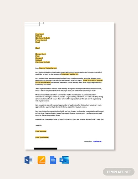 Free Cover Letter for Part Time Job With No Experience
