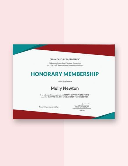 free honorary membership certificate template download 200