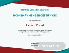 Free Honorary Membership Certificate Template