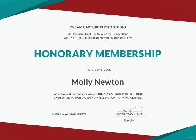 Free honorary membership certificate template free templates for Honorary member certificate template