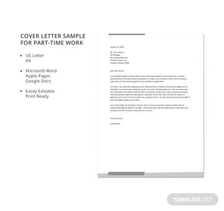 Cover Letter Sample for Part-Time Work