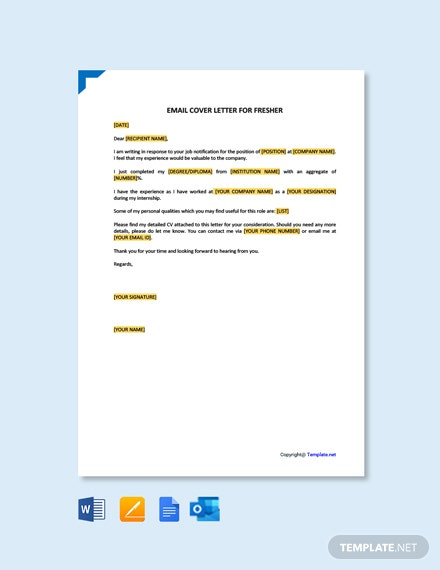 Free Email Cover Letter for Fresher