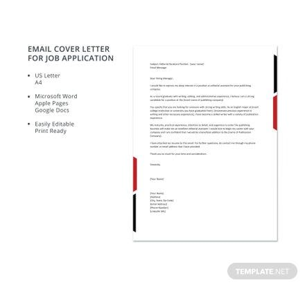 Email Cover Letter for Job Application