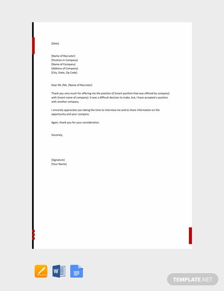 Free Polite Rejection Letter for Job Offer