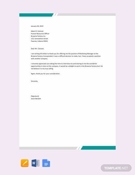 Free Polite Rejection Letter Sample