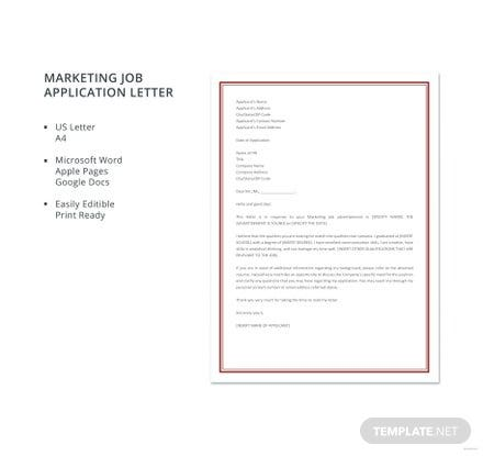 Free Marketing Job Application Letter Template