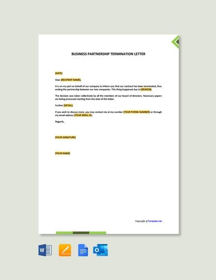 Business Partnership Termination Letter Template