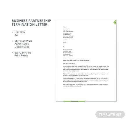 Free Business Partnership Termination Letter