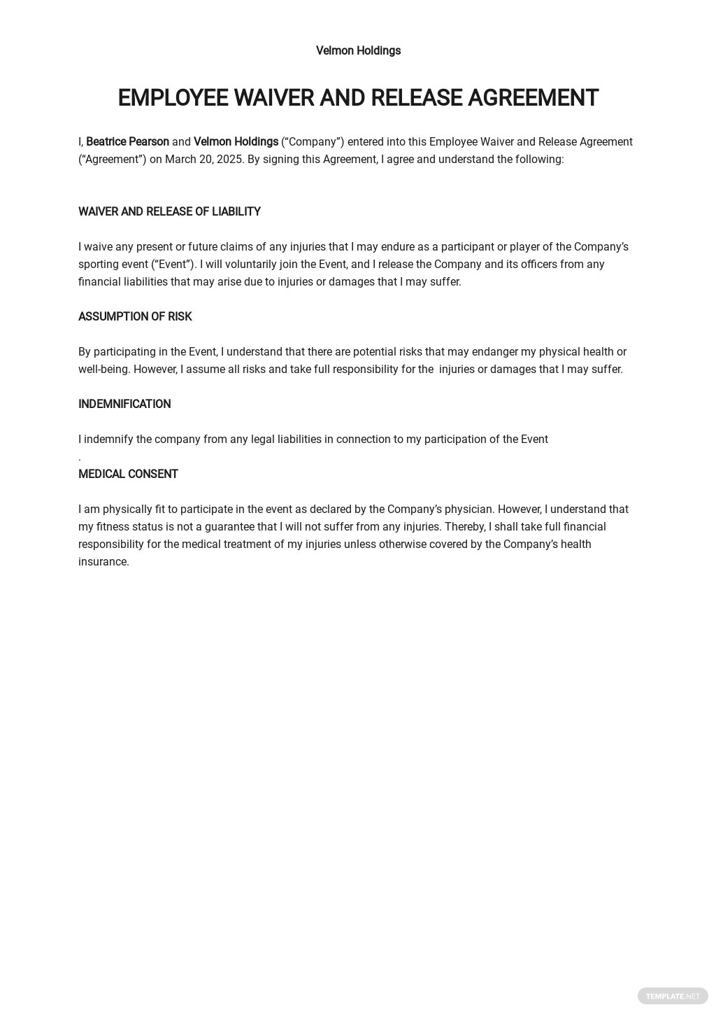 Sample Employee Waiver & Release Agreement Template.jpe