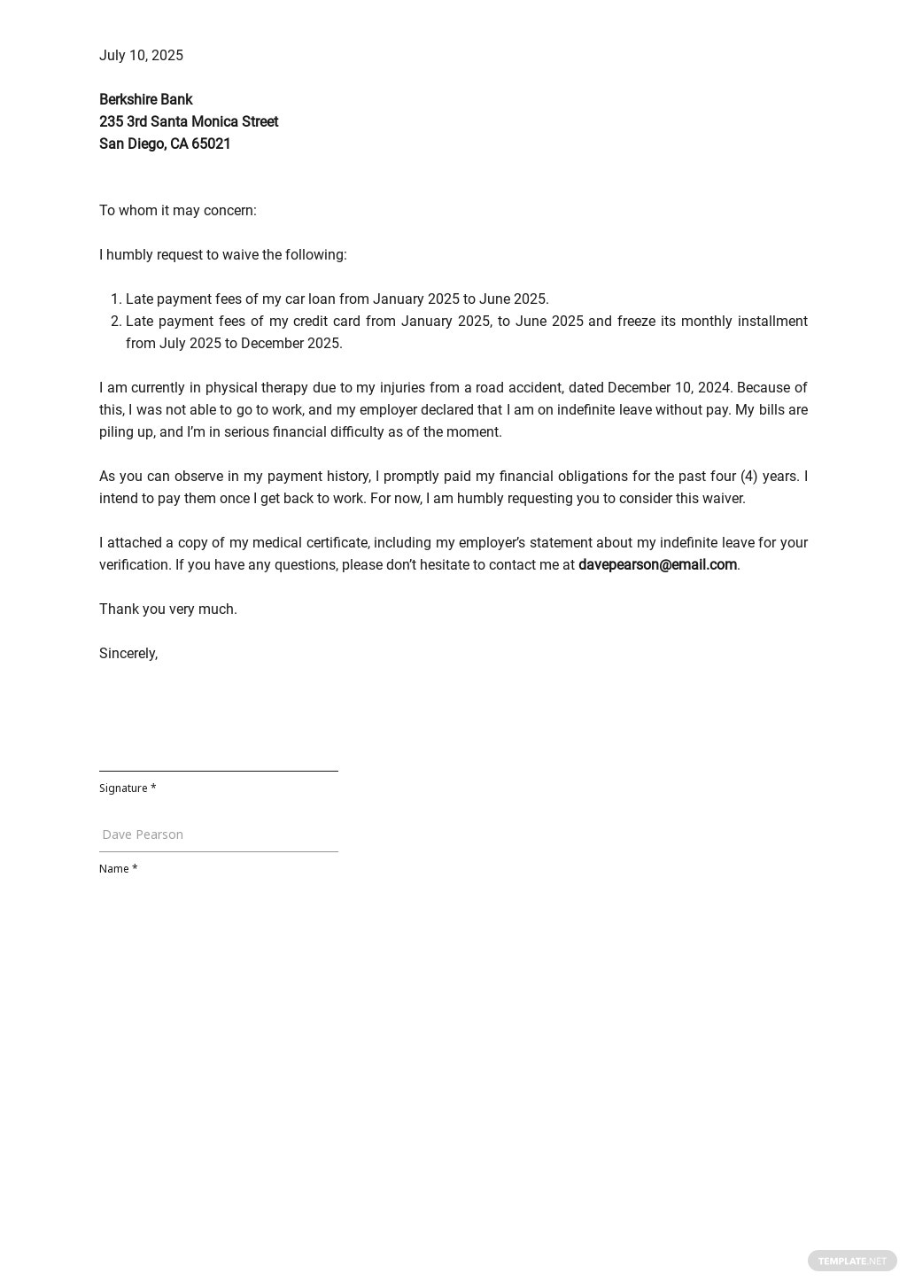 Sample Letter of Waiver Template.jpe