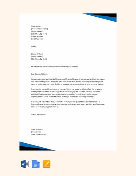 free partnership dissolution letter template