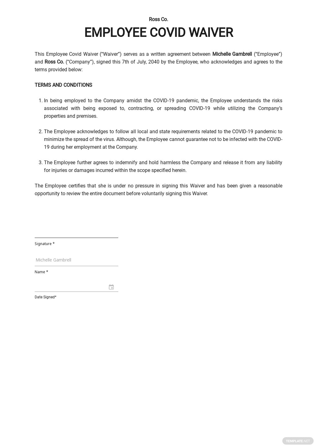 Employee Covid Waiver Template