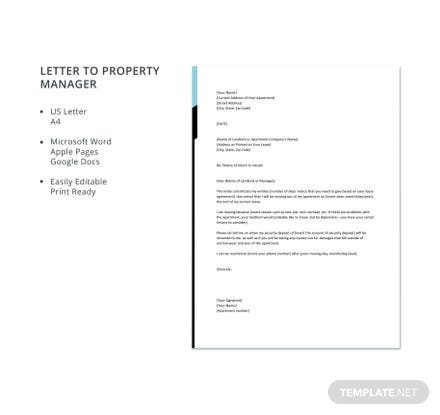Letter to Property Manager