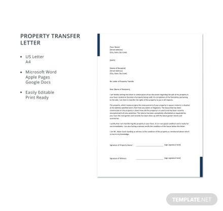 Free Property Transfer Letter
