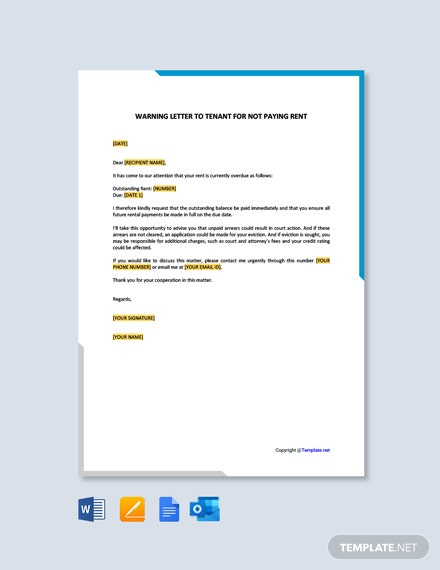 Warning Letter to Tenant for not Paying Rent Template