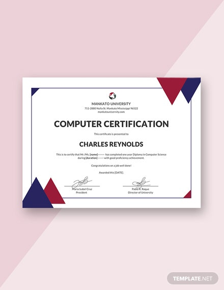 free computer diploma certificate template download 200