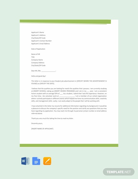 Free Student Job Application Letter Template