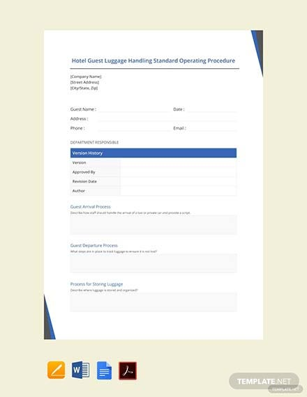Free Hotel Guest Luggage Handling Standard Operating Procedure Template