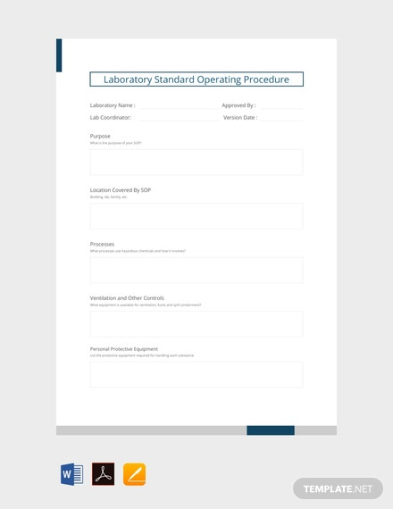 Free Laboratory Standard Operating Procedure Template