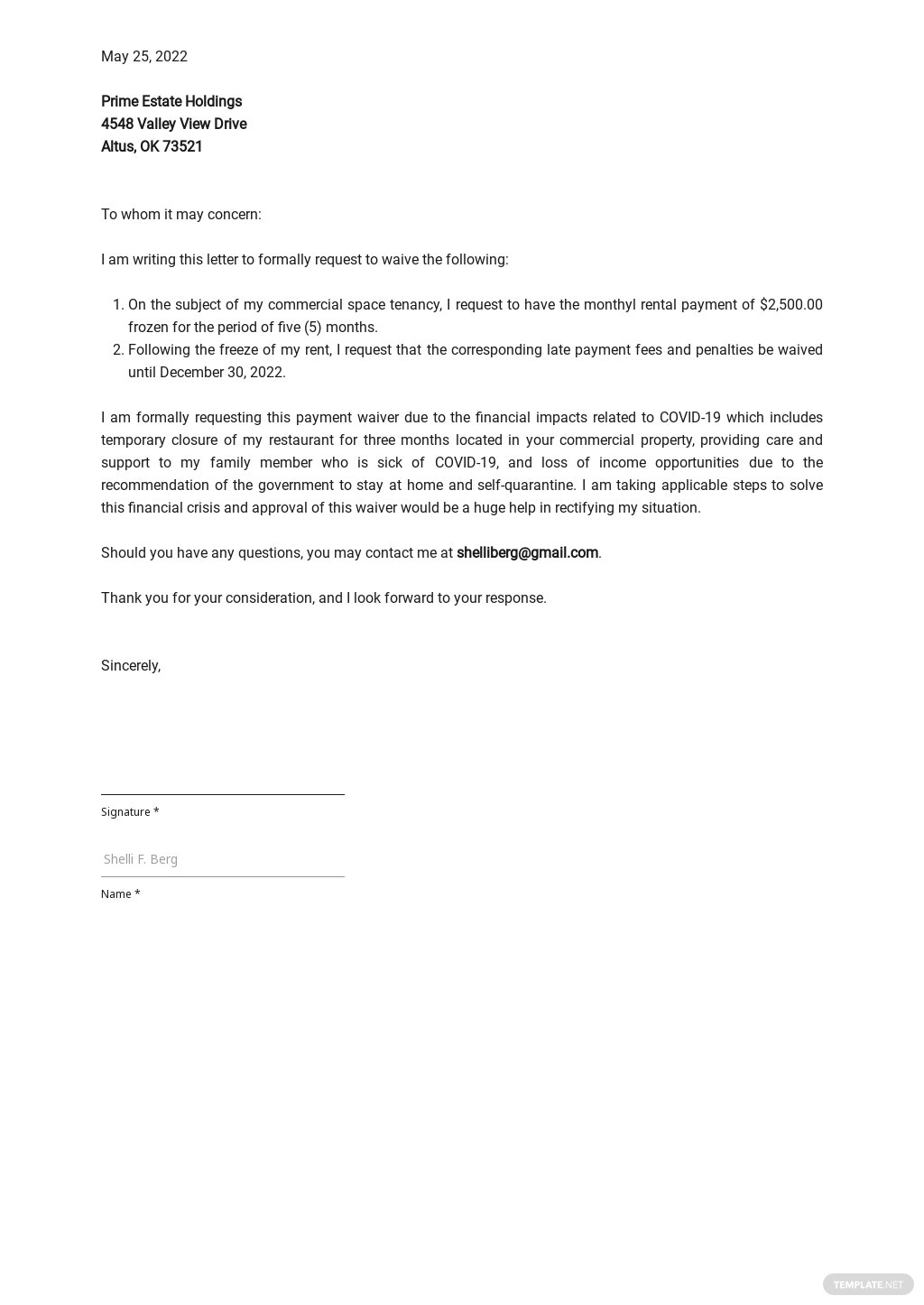 Payment Waiver Letter Template.jpe