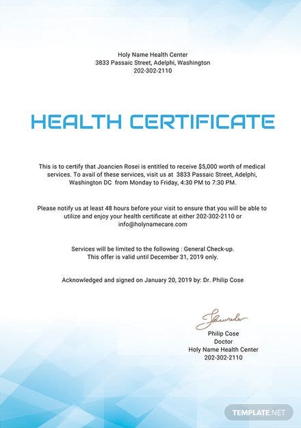 free health certificate template  download 200