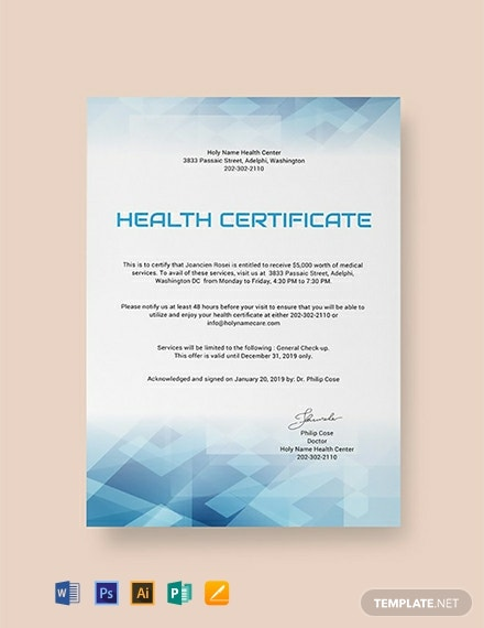 Free Health Certificate Template