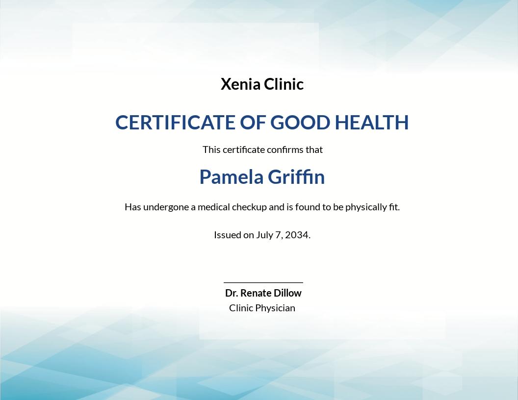 Health Certificate Template