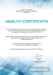 Free Health Certificate Template