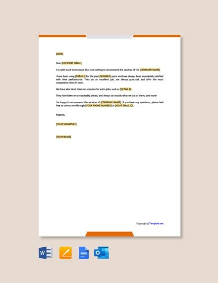 Business Endorsement Letter