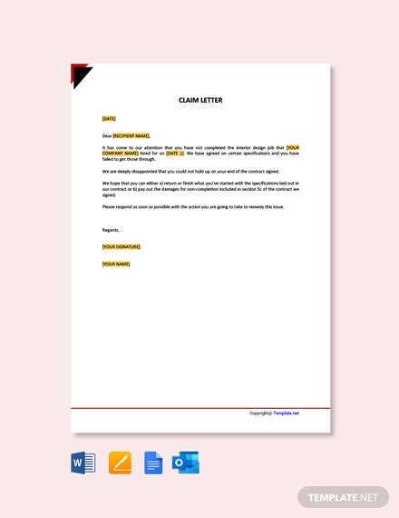 Free Claim Letter Sample