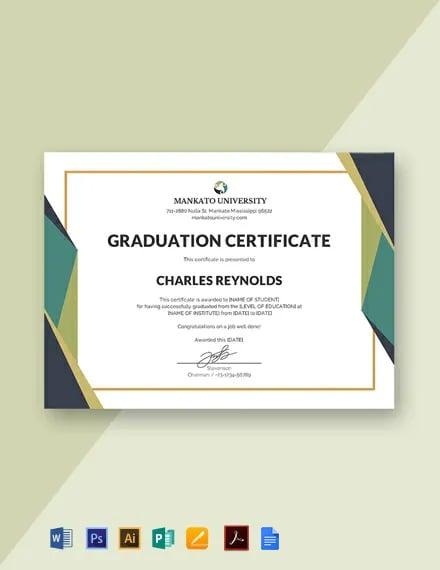 Free Graduation Certificate Template