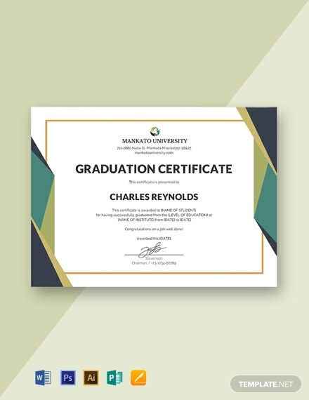 FREE Graduation Certificate Template - Word | PSD | InDesign