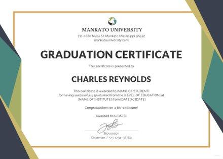 Free graduation certificate template free templates free graduation certificate template yelopaper Gallery