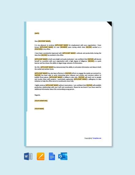 Free Employee Endorsement Letter