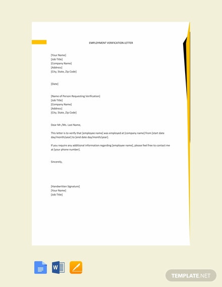 free employment verification letter template