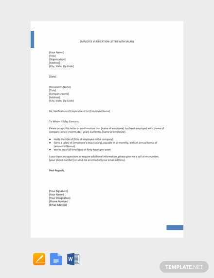 free employment verification letter with salary click to expand