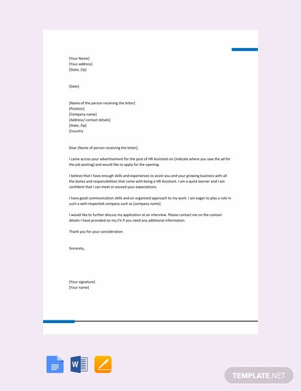 FREE HR Assistant Job Application Letter Template - Word